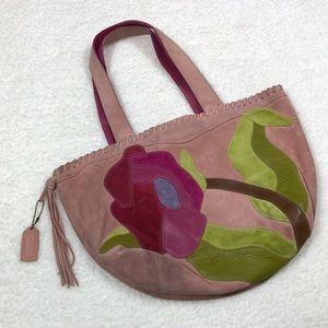 Coach Pink Suede Shoulder Bag with Flower